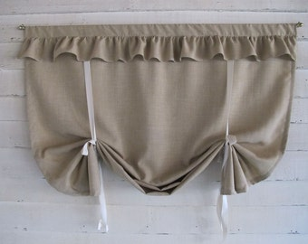 36 Inch Long Khaki LInen-Look Ruffled Stagecoach Blind Custom Made to Order Roll Up Window Shade