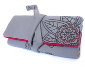fabric watch roll - with hand drawn floral accent