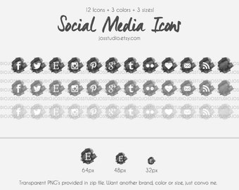 Grayscale Series - Watercolor Social Media Icons in Greyscale- use for your blog, website, or portfolio. In multiple sizes!