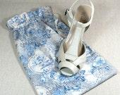Shoe Bags,Indigo Blue, Toile,  travel or storage, Bride, flowers and flourishes, Set of 2