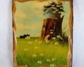 SALE Wall Plaque, vintage home decor, wood plaque, tree stump, daisies, country scene, scalloped edges, decoupage,small wooden plaque,unique