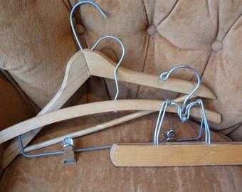 SALE vintage Hangers, wooden Hangers, Three wooden Hangers, pants Hanger, Coat Hangers, display Hangers, metal clips, clothes Hangers