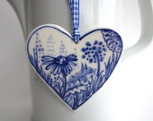 Porcelain  Heart -  Blue and white Floral -Valentine- Dutch  Delft Blue Wall hanging/ornament