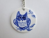 Owl - Porcelain keyring/keychain - Handpainted Dutch Delft blue and white - one of a kind- handmade