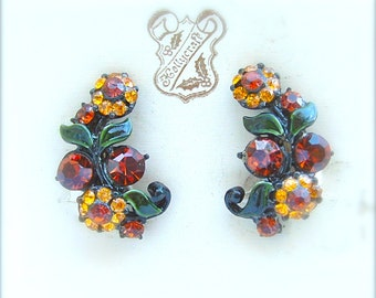 Designer HOLLYCRAFT Floral Party Rhinestone Enamel Jewelry on Original Card Citrine Honey Amber Faux Stone Vine Leaf Flower Ear Clips