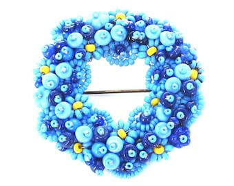 METICULOUS Beaded Brooch, Antique Jewelry, Blue Jewelry, Hand Crafted Back N the Day Beautiful Seed Bead Wreath Circle Pin, Handmade Jewelry