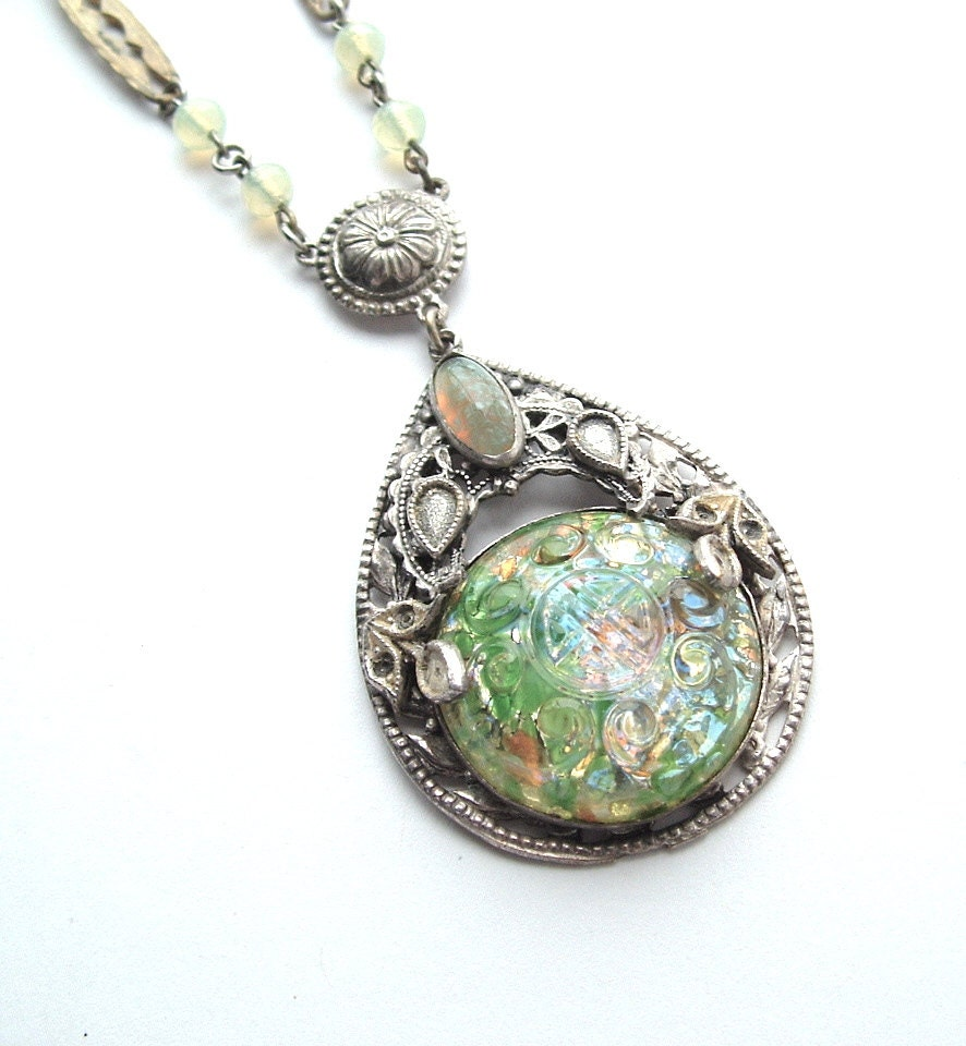 antique pendant necklace teardrop glass opal speckled by