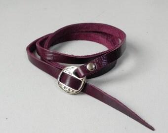 Maroon Wrap Leather Bracelet Leather Cuff Leather Bracelet