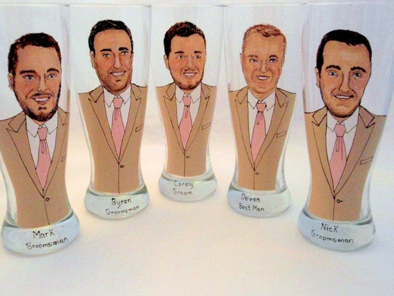Hand Painted Groom, Groomsmen Personalized Pilsner Glasses (5 glasses) -Custom Caricatures-Unique Bridal Party Gift