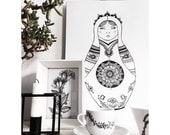 matryoshka babushka russia draw drawing picture interior home living room decor decorate doll