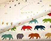 Just For Fun - Bear Hike Flight Multi - Birch Organic Fabrics Bundle- Organic Designer Cotton - Unisex Baby Fabric- Boy Girl Adult - 2 yards