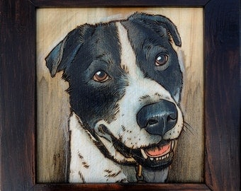 Custom woodburning pet portrait
