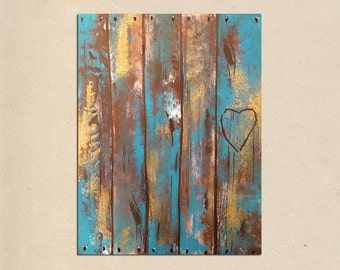 rustic faux wood fence, original PAINTING art- personalized with names or initials, rustic home decor, rustic wall decor, wedding gift