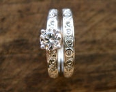 Diamond Engagement Ring with Matching Wedding Band in 14K White Gold with Scroll Motif Size 8/3mm