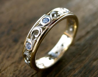 Lavender Tanzanite Wedding Ring with Scroll Work in Two-Tone 14K White & 14K Yellow Gold Size 5