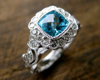 Teal Blue Paraiba Topaz Engagement Ring in 14K White Gold with Diamonds in Flower Buds and Leafs on Vine Size 5