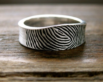 One Of A Kind Finger Print Wedding Ring in Sterling Silver Blackened with Matte Finish Size 9