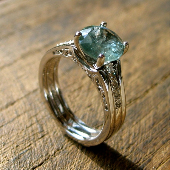 Sky Blue Montana Sapphire Engagement Ring With Diamonds And