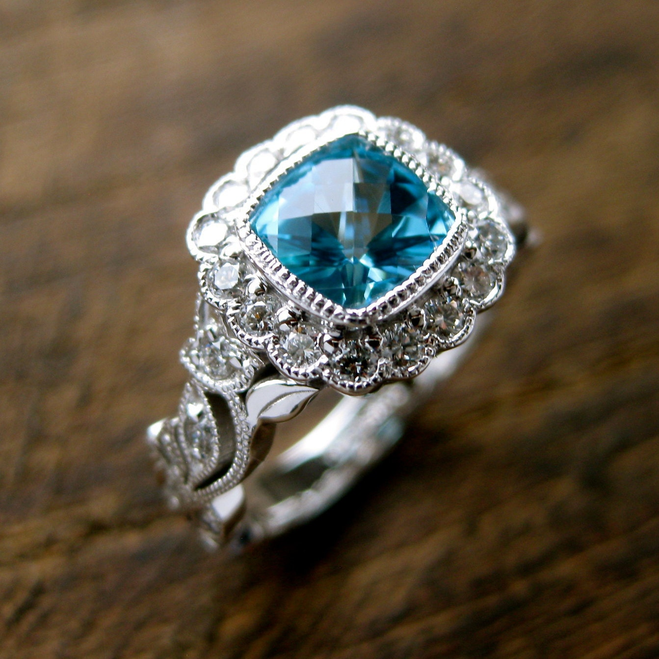 Teal Blue Paraiba Topaz Engagement Ring in 14K White Gold with