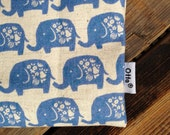 Organic linen cotton blue elephant Snack, Passport, Make up, baby pouch bag, purse, Finland