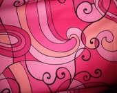 Retro Mod Polyester Knit Blend One way Stretch Fabric 1970's Style Pinks