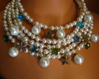 Sea Charmer - Multistrand Pearl Charm Necklace With Earrings, Mermaid Necklace Starfish, Pearls, Beach Weddings, Crystal , Semi Choker Style