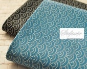 Japanese Cotton Fabric - Traditional Geometry Dotted Ocean Waves Pattern On Black Or Peacock Blue, Choose Color (Fat Quarter)