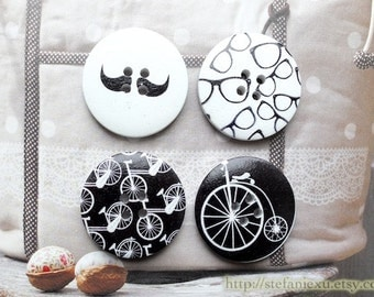 Wooden Buttons - Fashion French Style Geometric Chic Black and White Mustache Glasses Vintage Retro Bicycles Collection(4 in a set, D3CM)