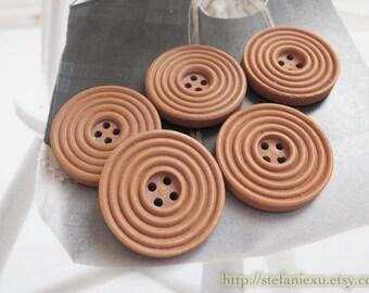 5PCS Wooden Buttons, Painted Color - Retro Lollipop Chocolate Circles (5PCS, D=3cm)