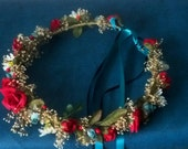 Winter Bridal Floral Crown Teal Red Woodland hair Wreath headpiece dried flower halo Holiday party accessories Rustic Texan Weddings Boots