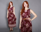 80s BATIK Floral Print MAXI / 1980s Plum Purple Ethnic Loose Fit Sun DRESS
