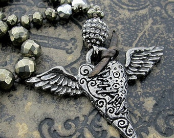 Winged Broken Heart Knotted Necklace, Layering Necklace, Boho Chic, Rocker Jewelry, Inspirational,Artisan Pewter