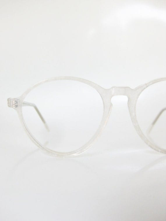 Lafont Round Eyeglass Frames : Vintage Icy White Round Eyeglasses Jean Lafont France Paris