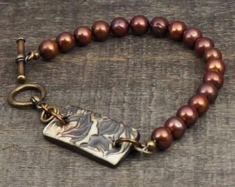Brown pearl bracelet, brass, ceramic leaf, earthtones jewelry 7 1/2 inches 19cm