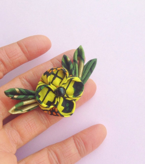 Men's Lapel Flower Pin: Yellow African Cotton Kanzashi Includes Shipping to US