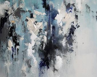 "Abstract Original Oil Painting, Modern Textured Grey Blue Neutral Art 20x28"""