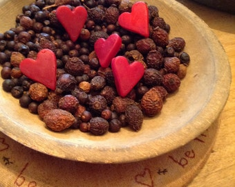 Mini Cranberry Beeswax Heart Bowl Fillers #111