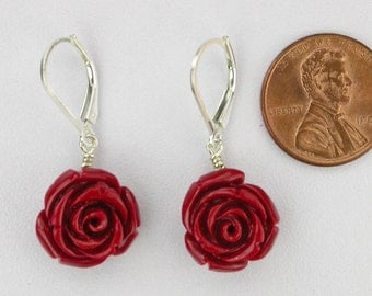 Carved Red Rose Earrings