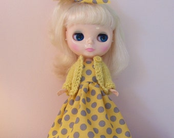 Blythe Dress in Yellow and Gray...Matching Sweater...Great for Spring....Darling
