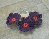 Face Scrubbies Crocheted Cotton Purple Flowers with Loop