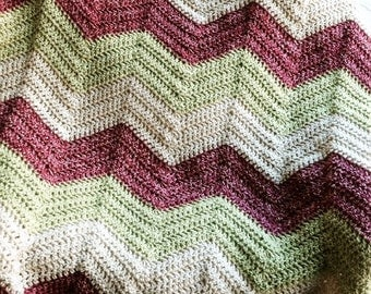 crochet knit BOLD chevron zig zag ripple baby toddler blanket afghan wrap adult lap wheelchair stripes VANNA WHITE yarn rose green handmade