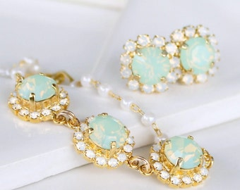 Chrysolite Opal with White Opal Halo Crystals on a Gold and Pearl Bracelet
