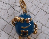 Enamel charm with lobster clasp Marked Monet Wholesale Peanut M&M Blue candy NEW in Package FREE shipping NWT charm bracelet altered art