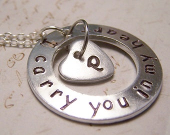 I carry you in my Heart Necklace with Initial. Memento. Memory. Loss. Grief