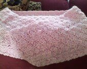 Baby Pink, 9 Wide by 50 inch long, Scarf , shoulder wrap, Hand Crocheted in USA