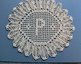 "Custom Crocheted Initial Doilies ""P"""
