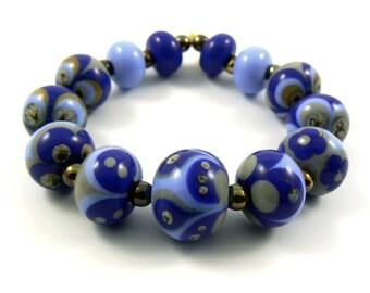 Periwinkle Retro Bead set - Handmade Lampwork Beads - Set of 13 beads - Blue, Grey, Cobalt, Silver, Ivory - MadeByFire