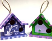 Mini Wood Birdhouse for indoor or outdoor use custom hand painted