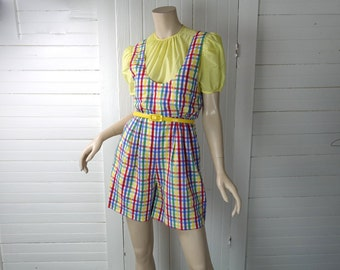 60s Plaid Shorts Romper- Primary Colors in Gingham Seersucker- Beach / Pool Party- 1960s Mod Playsuit / Overalls- Small