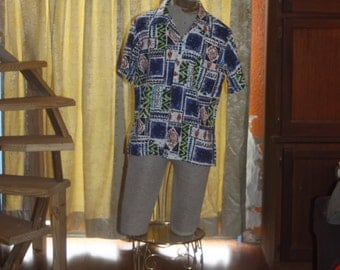 Vintage 60's Hawaiian bark cloth men's shirt M/L